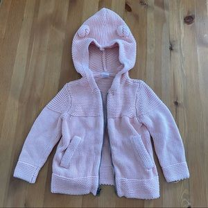 BABY GAP Sz 2T Pink knitted Bear Hoodie Sweater